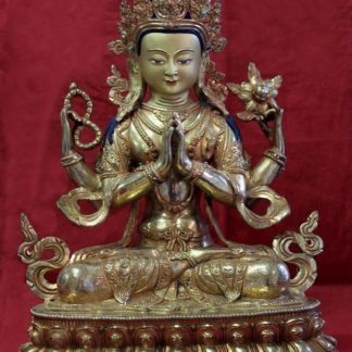 Golden Buddha Chenrezig Full gold buddha statue for sale