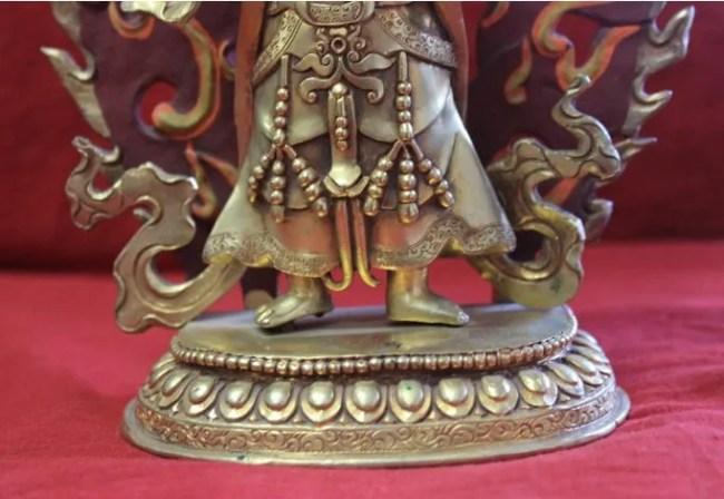 Mahankala full gold buddha statue lotus base