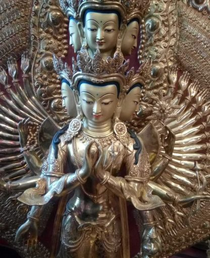 Garden Buddha for sale - fully gold plated Avalokitesvara