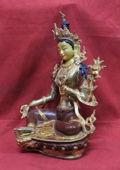 Green Tara Statue Half Gold side view 2