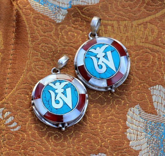 Tibetan Om Symbol Charms Bundle Of 2 Pendants With Turquoise Coral