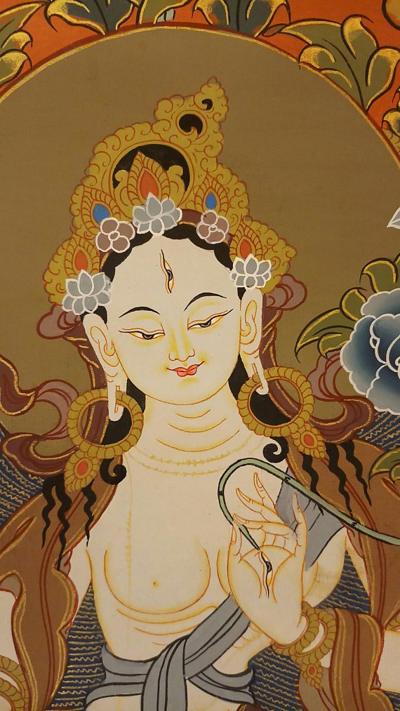 white tara thangka painting face