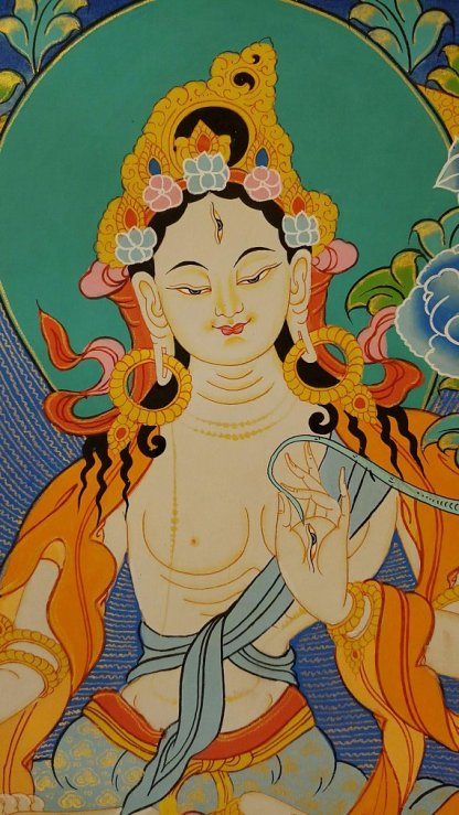 white tara tibetan thangka face