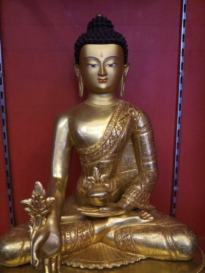Medicine buddha statue full gold 18 inches body