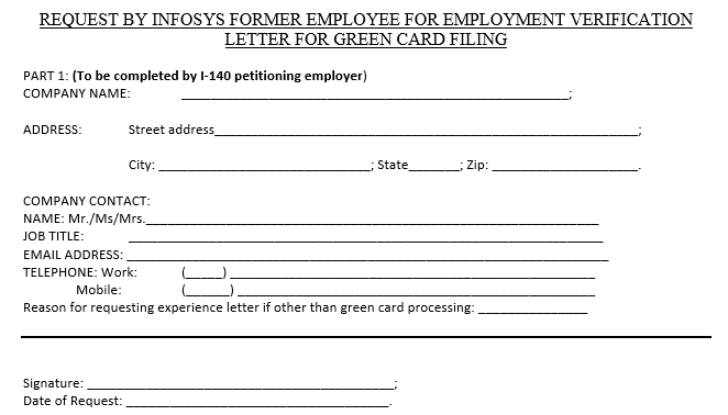 Obtaining infosys employment verification letter shalady it requires them to confirm that they require the experience letter for the gc processing a sample snapshot of the document looks like this spiritdancerdesigns