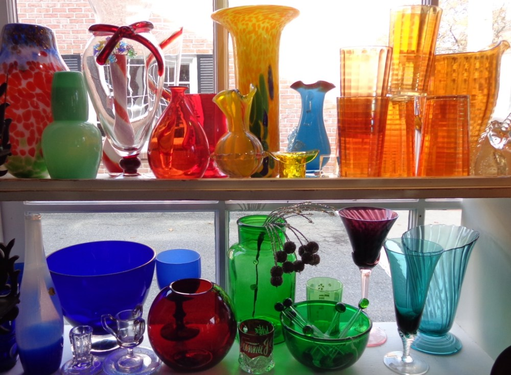 Colored glassware at Moonvine on Shalavee.com