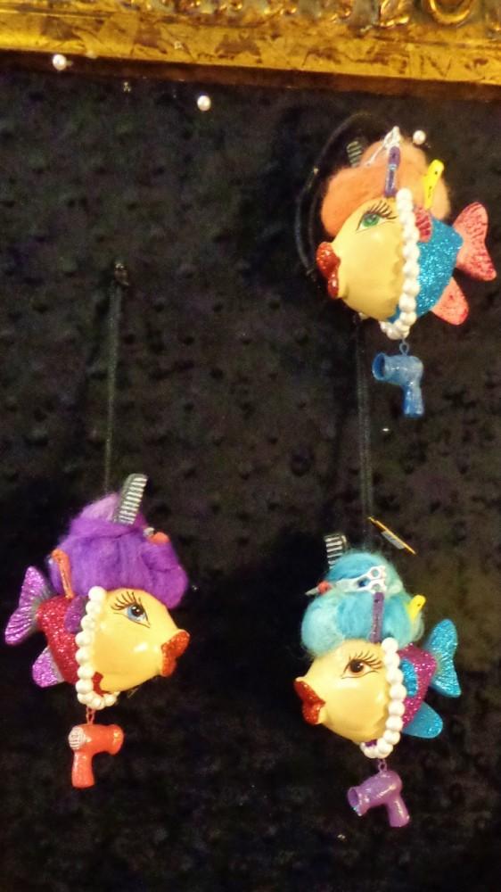Hairdresser fish ornaments at Moonvine on Shalavee.com