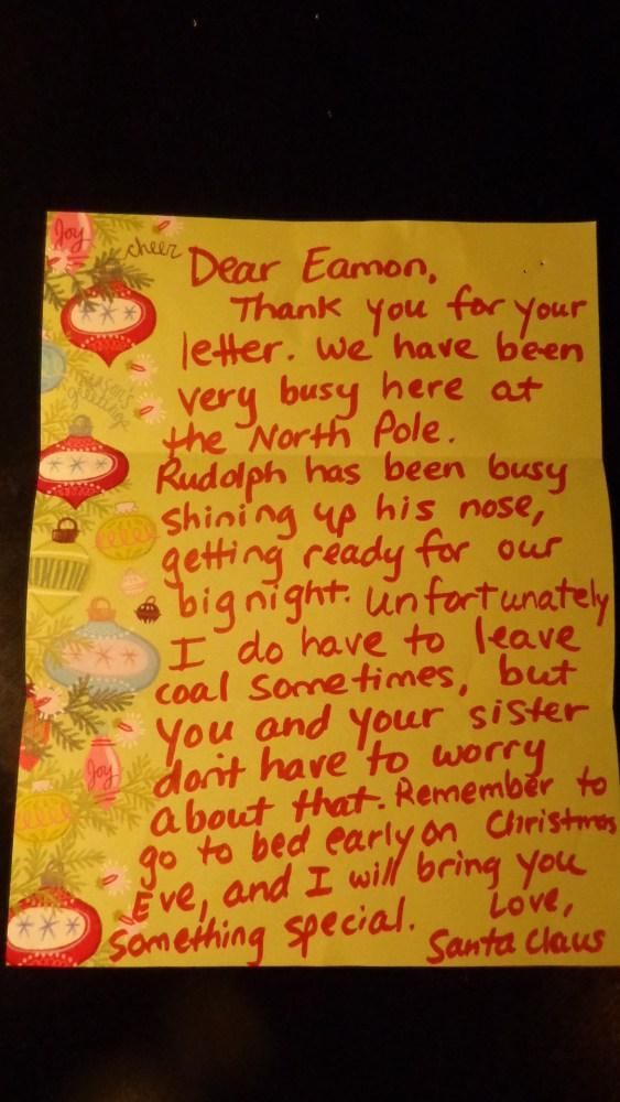 Eamon's letter to Santa on Shalavee.com