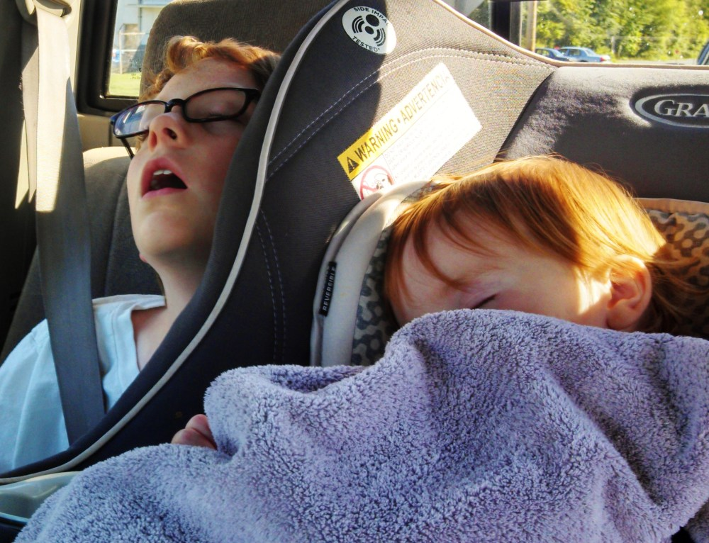 Eamon and Fiona sleeping in the car on the Necessity of Napping on Shalavee.com