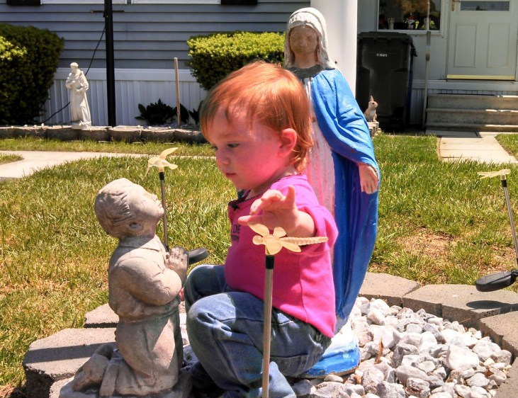 Fiona and Grammy's garden statues on shalavee.com