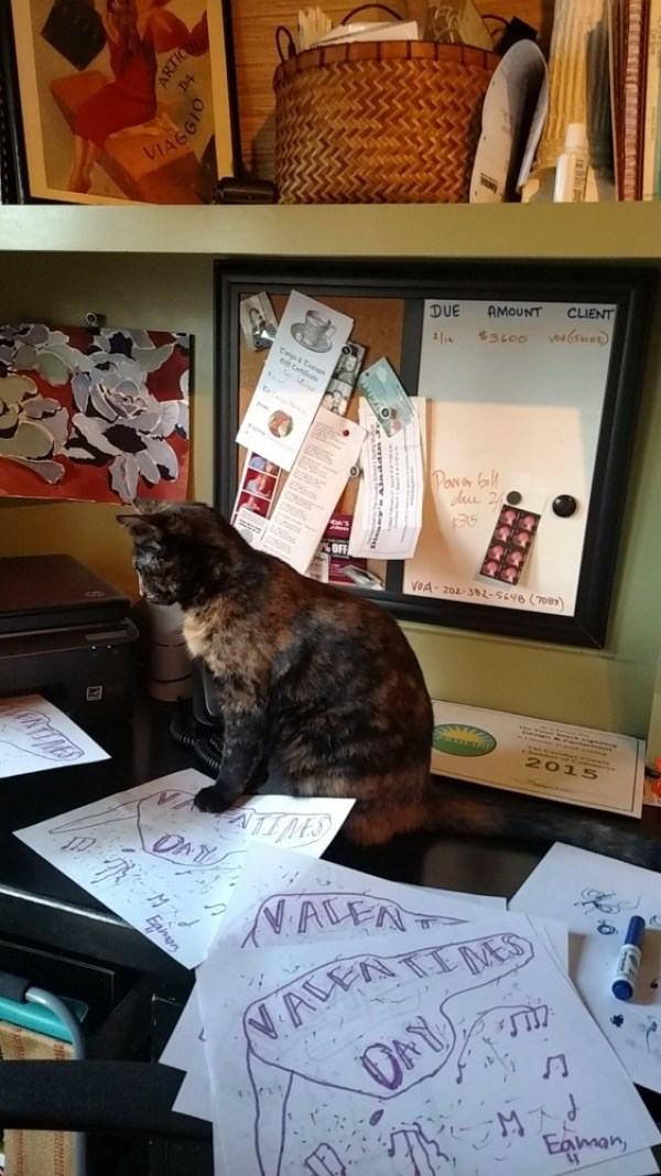 Chessie and the printer on Shalavee.com