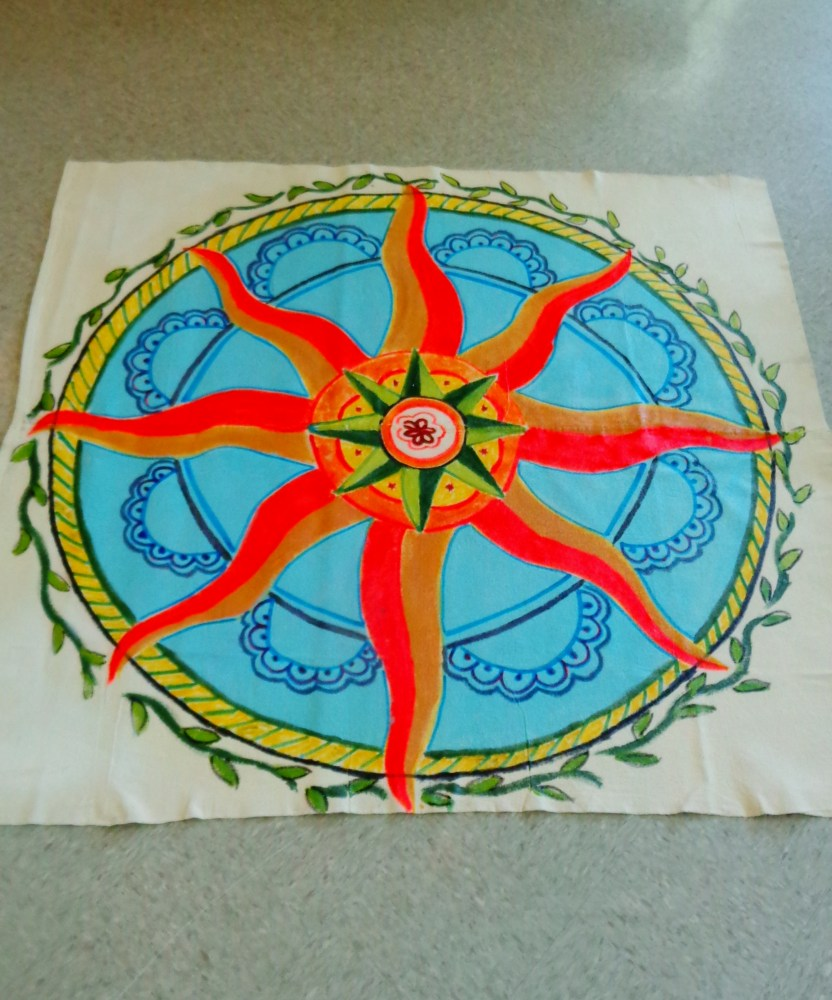 19 June Solstice decorations post Finished Floor cloth on Shalavee.com