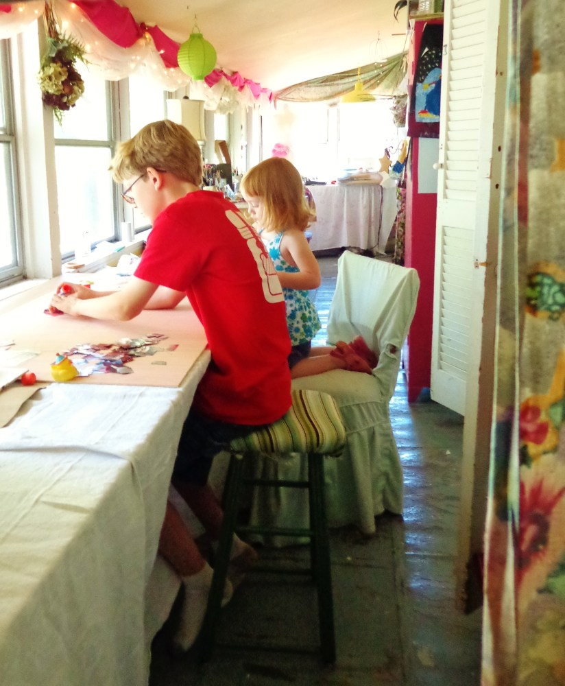 My children in my artroom on Shalavee.com