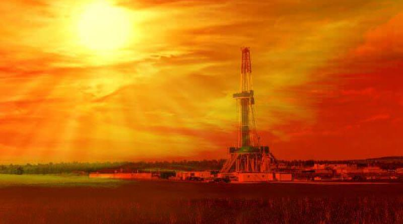 Energy Producers Shale gas drilling with sunrise in the province of Lublin Poland.