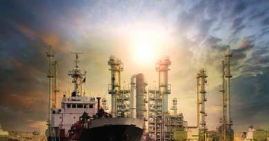 Gas Tanker Ship And Oil Refinery Plant Background Use For Oil