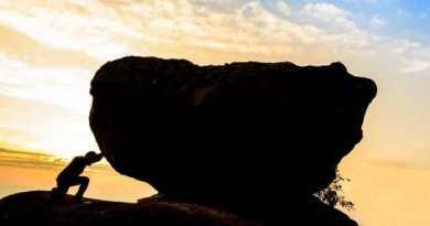 Hard work. Man pushing rock up mountain. Don't hustle hard, hustle smart