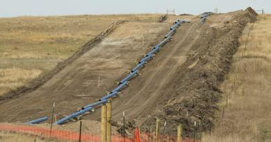 A natural gas pipeline being constructed in North Dakota