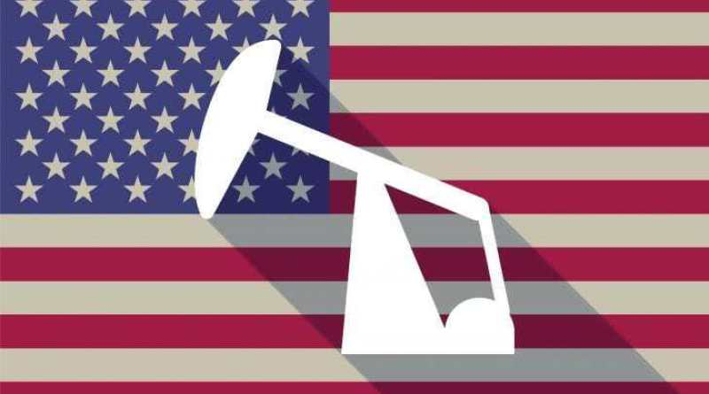 Illustration of a long shadow vector USA flag icon with a horsehead pump