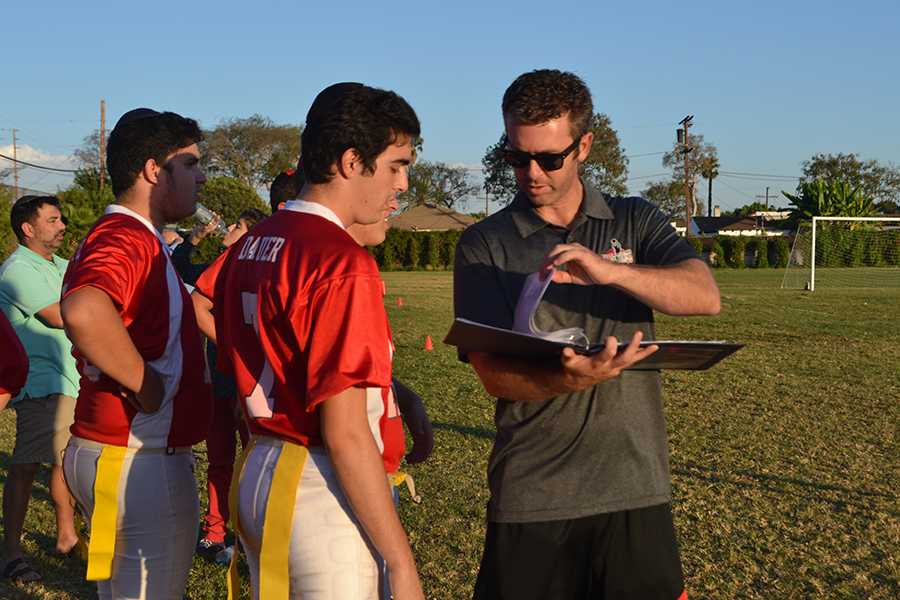 GAME+TIME%3A+Coach+Ryan+Coleman+a+play+to+football+captain+Jacob+Dauer+on+the+sideline+during+a+break+