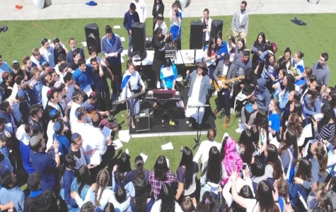 Gathered on the roof, students become a giant choir to celebrate Israeli Independence Day