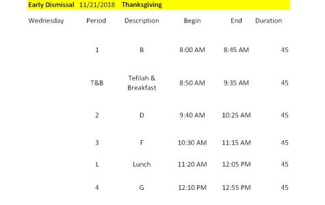 BELL SCHEDULE: 11/21/18