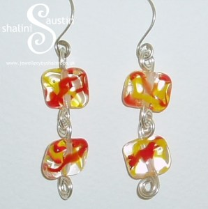 Glass beads Wire Earrings 2