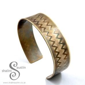 Brass Cuff: Zigzag Pattern