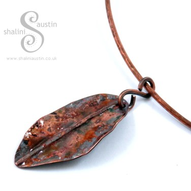 Enamelling Copper Part 2 - 'Colours of Autumn' Enamelled Copper Leaf Pendant