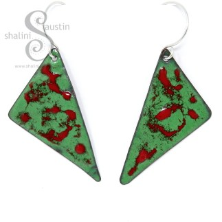Enamelled Copper Earrings, Red and Green