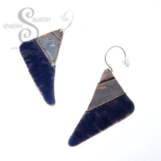 Blue Enamelled Copper Earrings