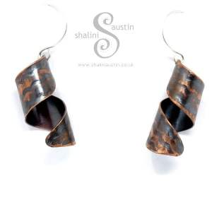 Antique Finish Embossed Copper Twirl Earrings