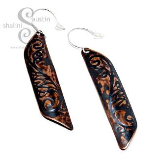 Long Copper Earrings FLORAL