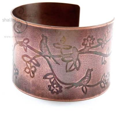 Limited Edition Embossed Copper Cuff 'Birdsong'