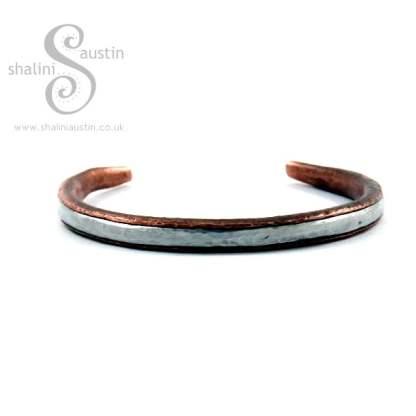 Rustic Copper Bracelet with Aluminium Inlay