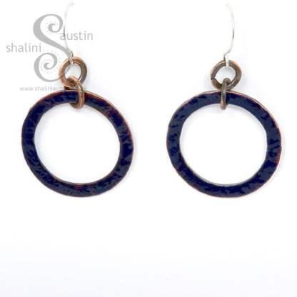 Enamelled Copper Circle Earrings BLUE