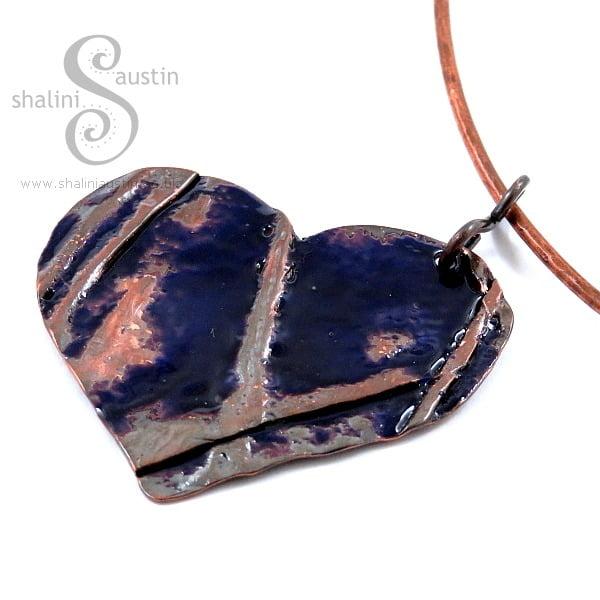 Enamelled Copper Heart Pendant – Blue