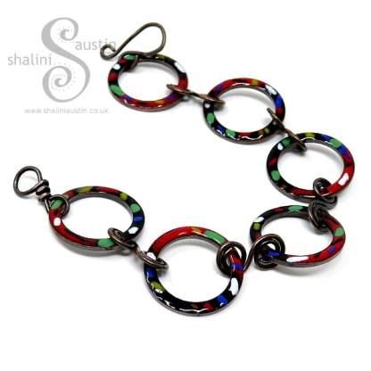 Enamelled Copper Bracelet TUTTI FRUTTI – Red & Black
