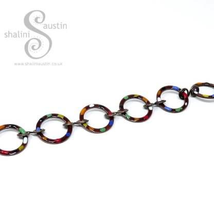 Chestnut Brown Enamelled Copper Bracelet TUTTI FRUTTI