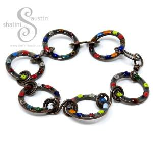Enamelled Copper Circles Bracelet - Dove Grey