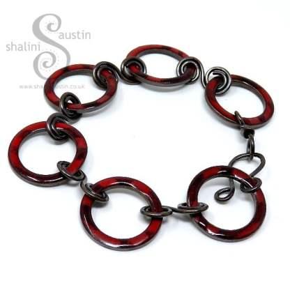 Enamelled Copper Circles Bracelet - Poppy Red