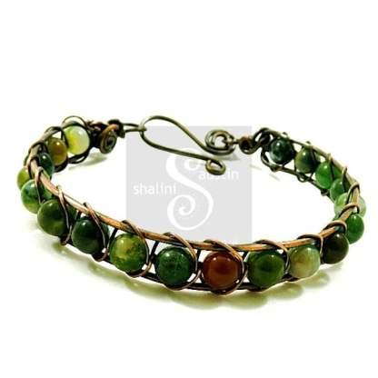 Indian Agate Wire Weave Bracelet 01