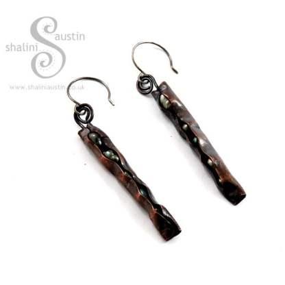 Freshwater Pearls & Copper Earrings – Bronze