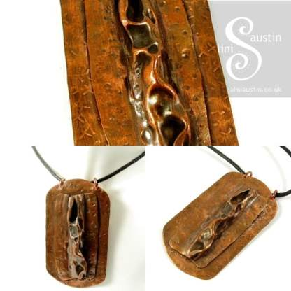 Antique Finish Air-chased Rustic Copper Pendant LUNAR 2