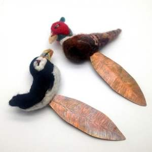 Felt Bird & Copper Feather Bookmark by Esha: Made to Order