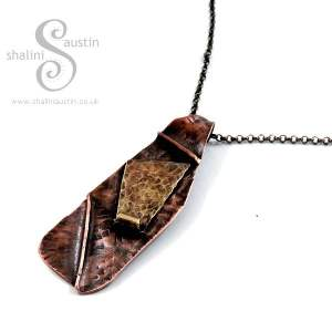Fold Formed Copper and Brass Pendant