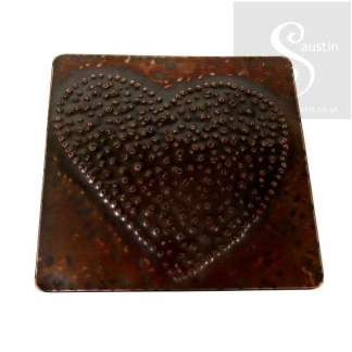 Handmade to Order - Copper Coaster BIG HEART