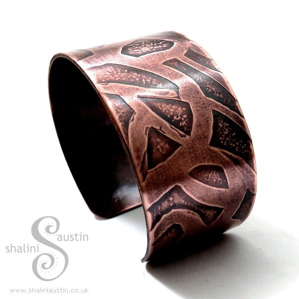 Wide Etched Copper Cuff from WHIMSY Collection: Made to Order