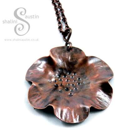 Copper Flower Pendant on a Chain