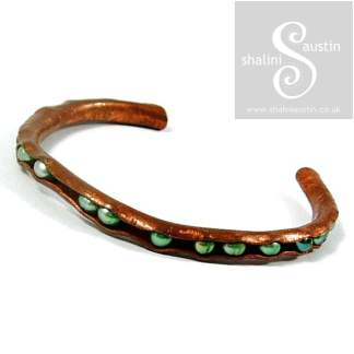 Hand Forged Copper Bangle Bracelet with Pearls