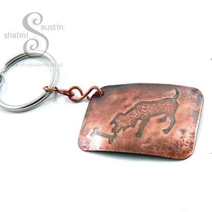 Embossed Bag Charm / Copper Keyring DOG & BONE 1